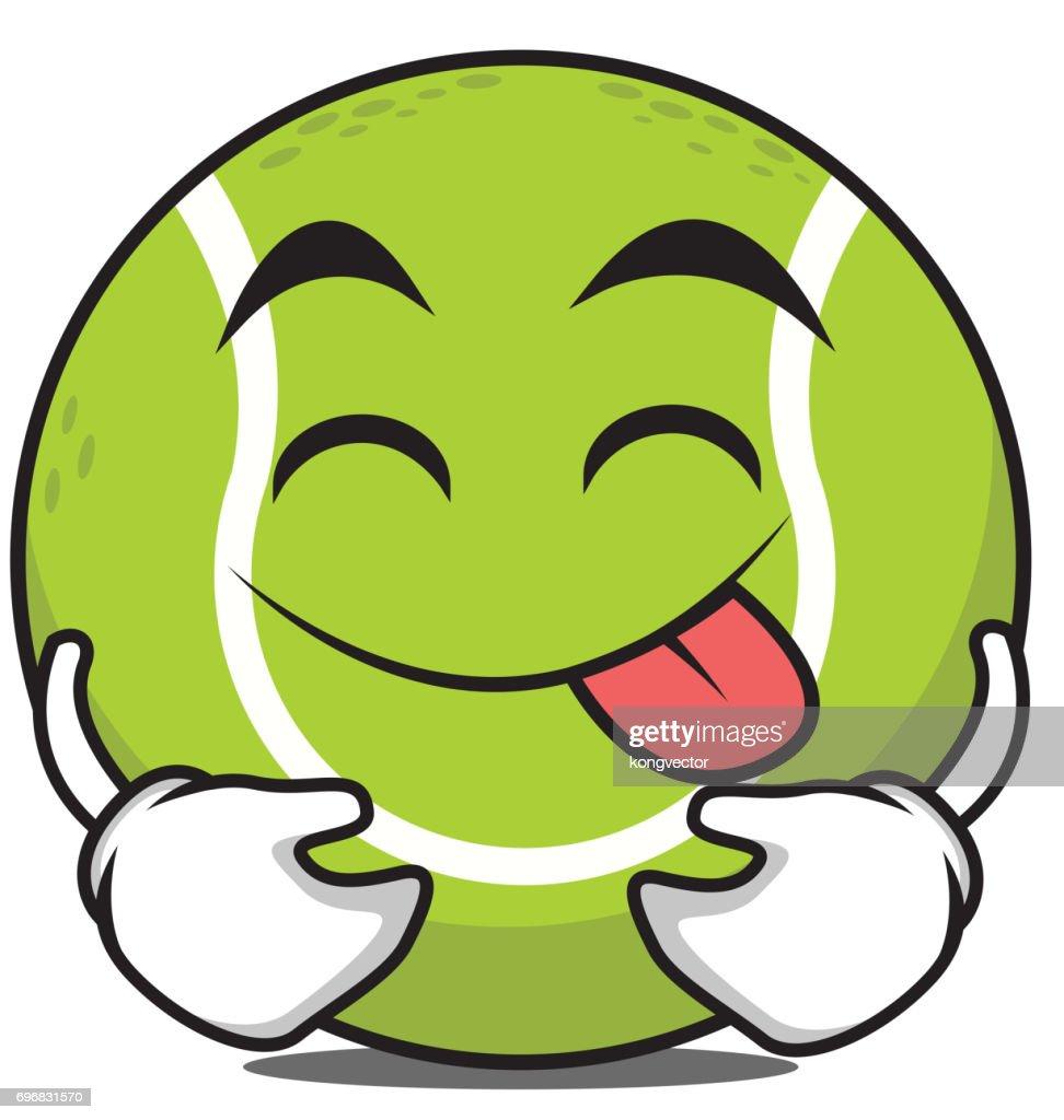 Tongue out tennis ball cartoon character vector art