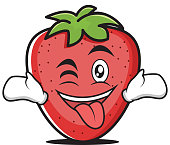 Tongue out with wink strawberry character vector illustration