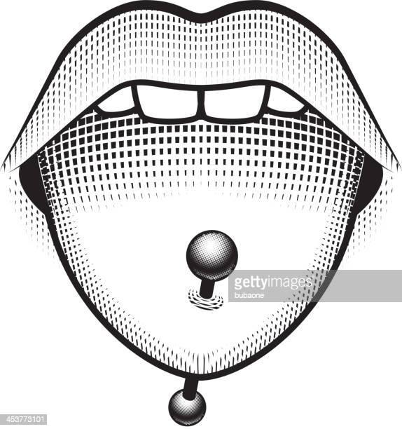 tongue piercing stud - human tongue stock illustrations