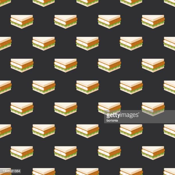 tonkatsu japanese sandwich pattern - tenkasu stock illustrations