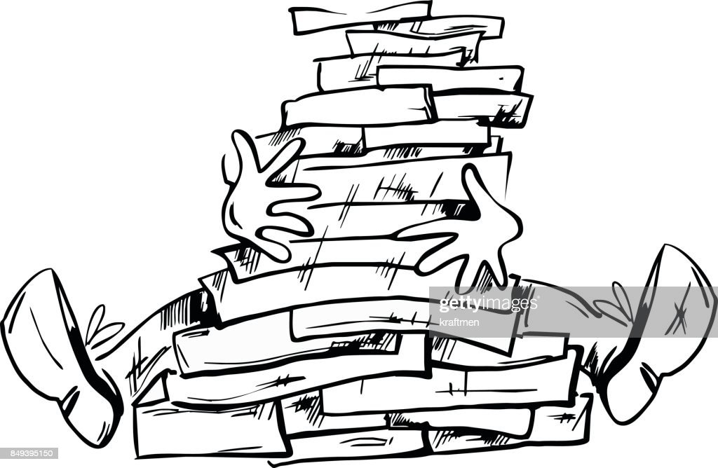 Too much documents or books in the man hands hand drawn illustration isolated