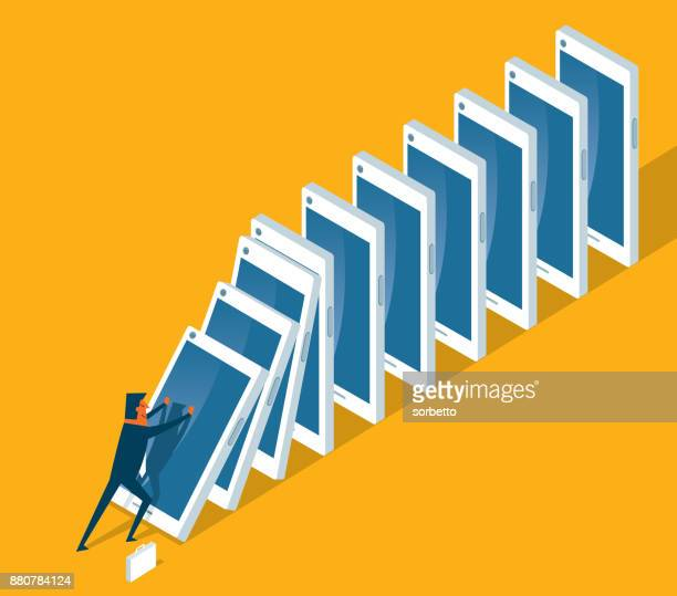 too much information - businessman - domino effect stock illustrations