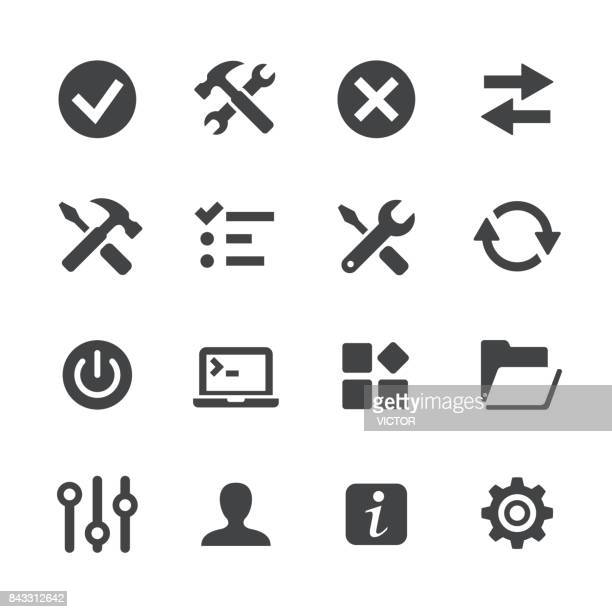 tool and setting icons - acme series - cog stock illustrations