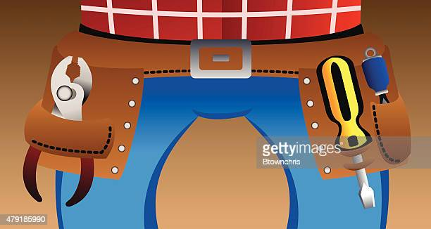 tool belt - tool belt stock illustrations, clip art, cartoons, & icons