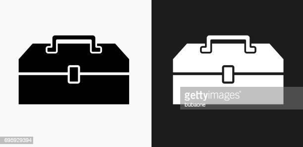 ilustraciones, imágenes clip art, dibujos animados e iconos de stock de cuadro icono en blanco y negro vector fondos - caja de herramientas
