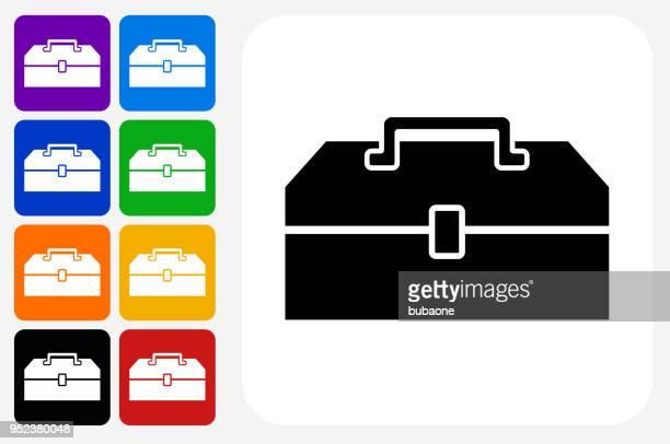 ilustraciones, imágenes clip art, dibujos animados e iconos de stock de herramienta cuadro icono cuadrado botón set - caja de herramientas