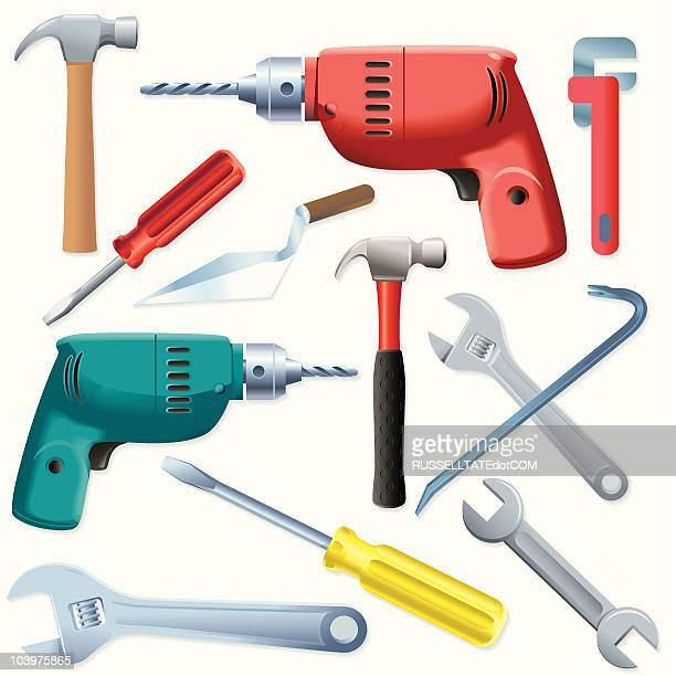 tool collection - power tool stock illustrations, clip art, cartoons, & icons