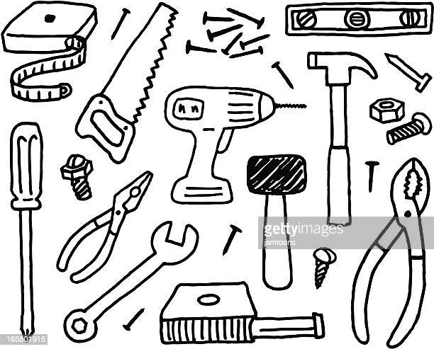 tool doodles - work tool stock illustrations