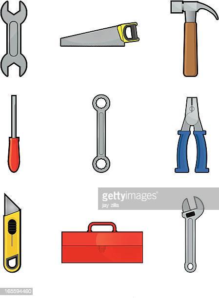 tool icon set - serrated stock illustrations, clip art, cartoons, & icons