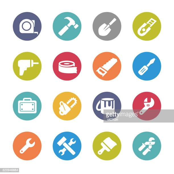 tool icons - circle series - tape measure stock illustrations, clip art, cartoons, & icons
