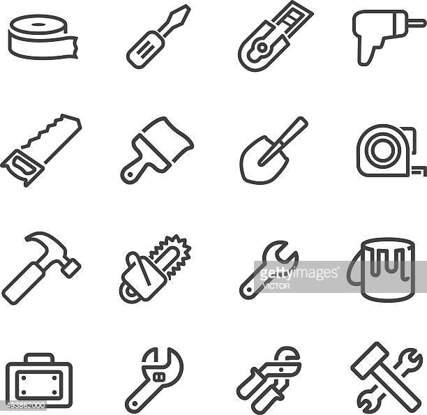 tool icons - line series - hammer stock illustrations