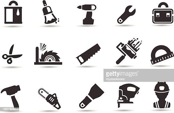 tool icons - contractor stock illustrations, clip art, cartoons, & icons