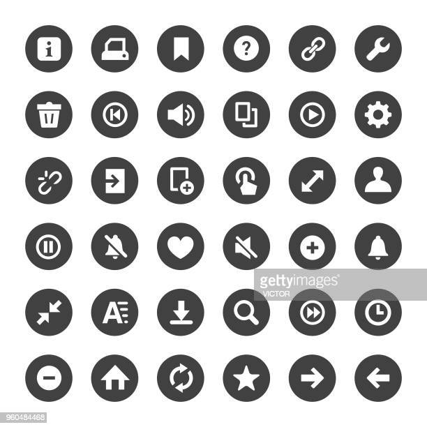 toolbar and control icon - big circle series - small stock illustrations