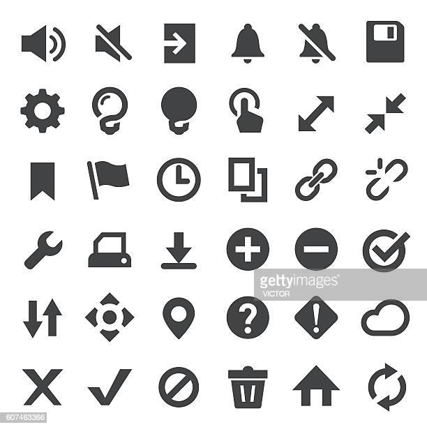 toolbar and control icons set - big series - floppy disk stock illustrations, clip art, cartoons, & icons