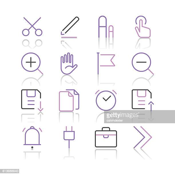 Toolbar and Interface Icons set 1 | Purple Line series