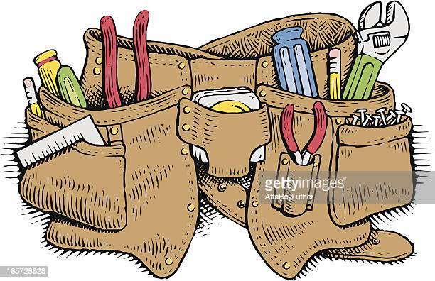 toolbelt - tool belt stock illustrations, clip art, cartoons, & icons