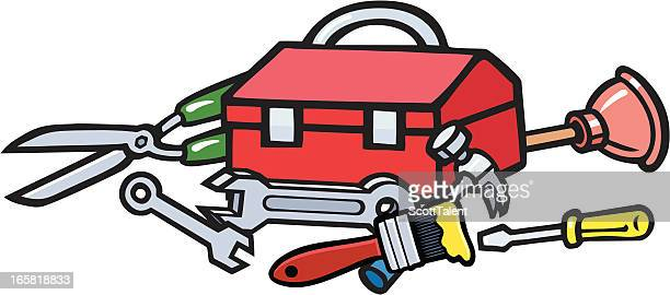 toolbox - hedge trimmer stock illustrations, clip art, cartoons, & icons