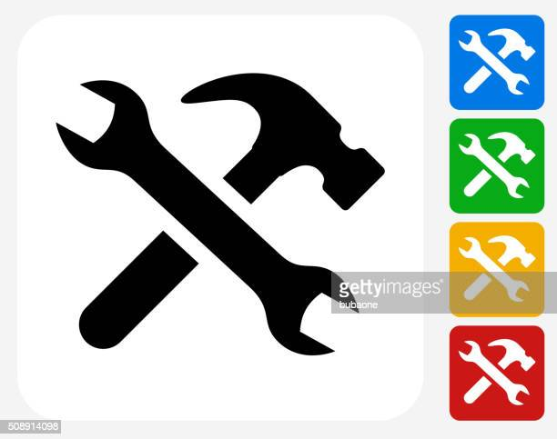 tools and hardware icon flat graphic design - hammer stock illustrations