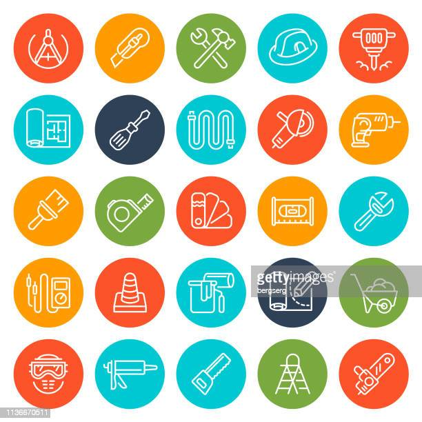 tools and home repair round icons - occupational safety and health stock illustrations, clip art, cartoons, & icons