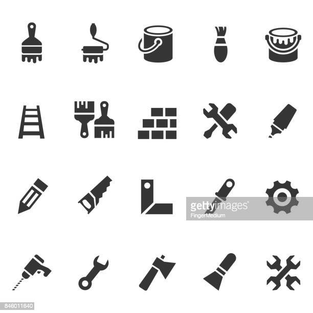 tools and painting icons - ladder stock illustrations, clip art, cartoons, & icons