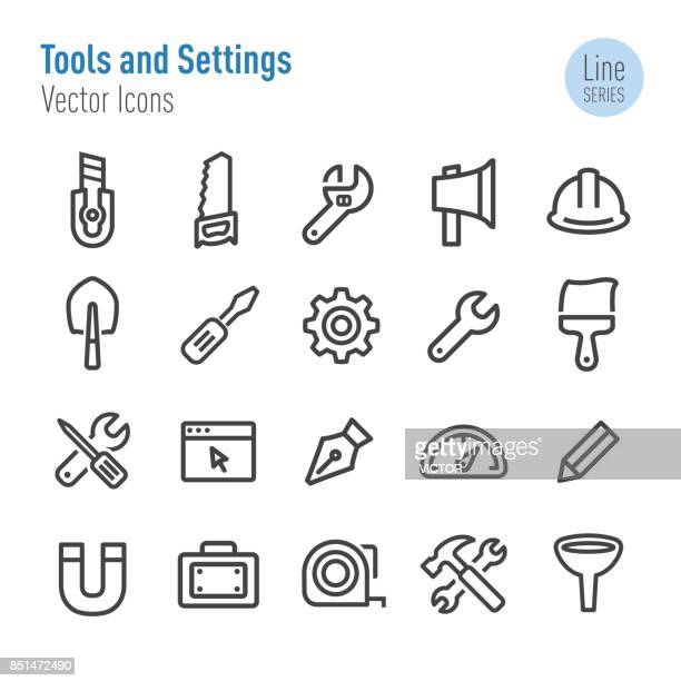 tools and settings icons - vector line series - work tool stock illustrations