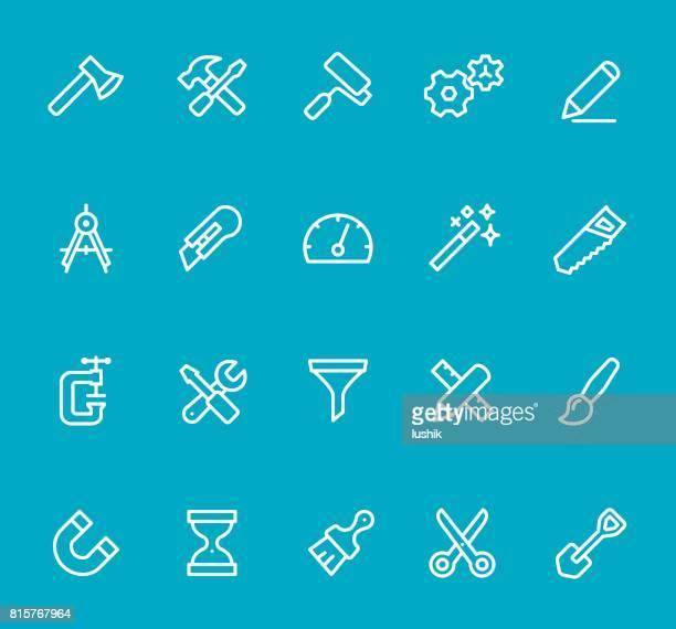 ilustraciones, imágenes clip art, dibujos animados e iconos de stock de herramientas y configuración - conjunto de iconos de línea - caja de herramientas