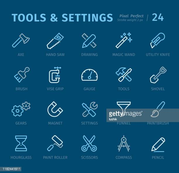 Tools and Settings - Outline icons with captions