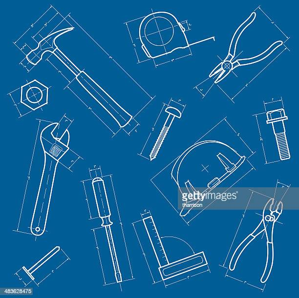 tools blueprint background - hammer stock illustrations
