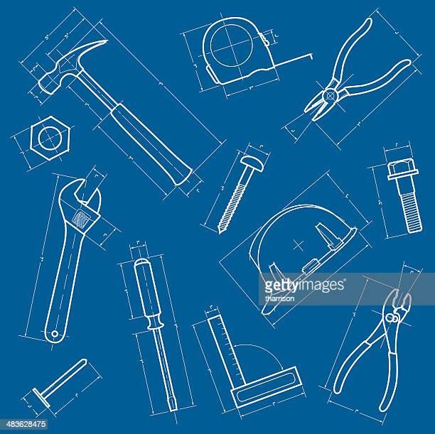 tools und blaupausen hintergrund - werkzeug stock-grafiken, -clipart, -cartoons und -symbole
