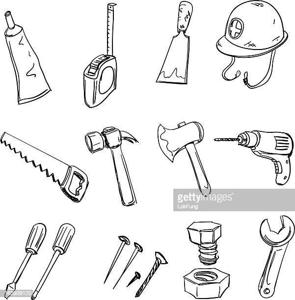werkzeuge sammlung in schwarz und weiß - werkzeug stock-grafiken, -clipart, -cartoons und -symbole