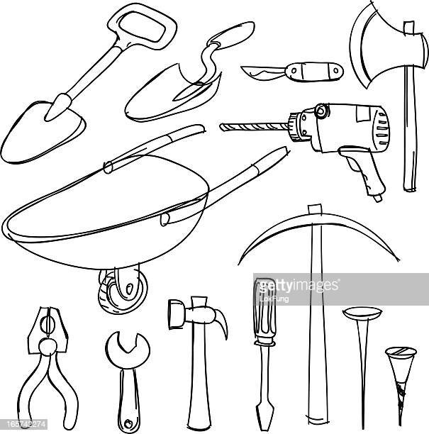 tools collection - hatchet stock illustrations, clip art, cartoons, & icons