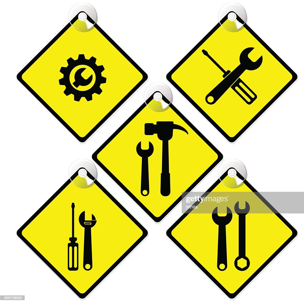 tools icon set in warning yellow tag