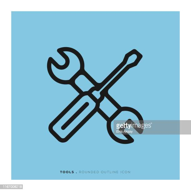 tools-symbol - schraubenschlüssel stock-grafiken, -clipart, -cartoons und -symbole