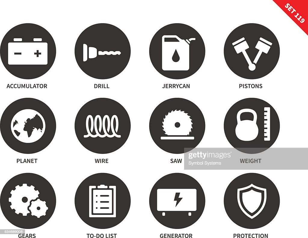 Tools icons on white background