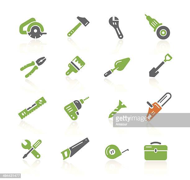 tools icons | spring series - power tool stock illustrations, clip art, cartoons, & icons