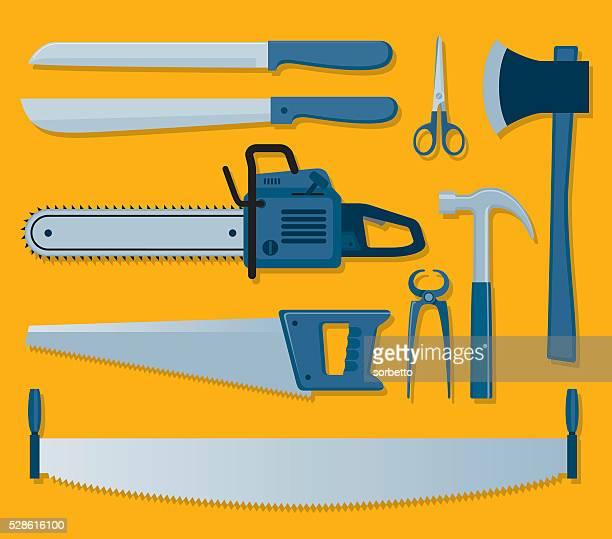 tools of carpenter - hatchet stock illustrations, clip art, cartoons, & icons