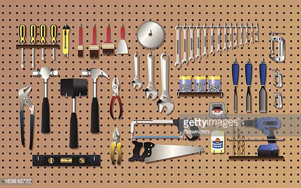 tools on the wall - power tool stock illustrations, clip art, cartoons, & icons