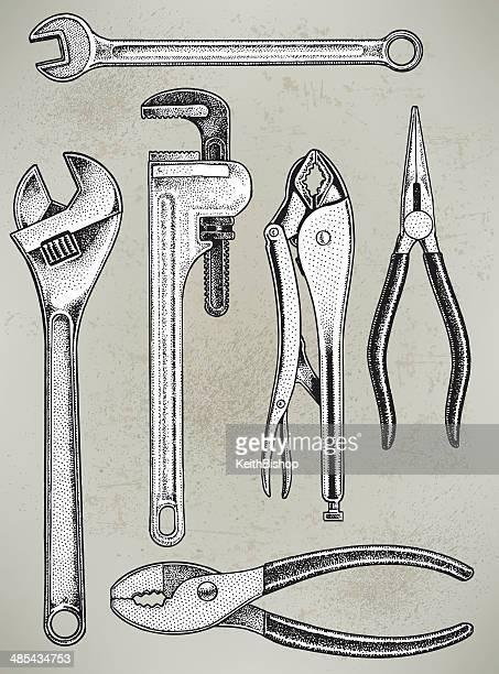 Ferramentas de reparação de equipamento, chave, Alicate