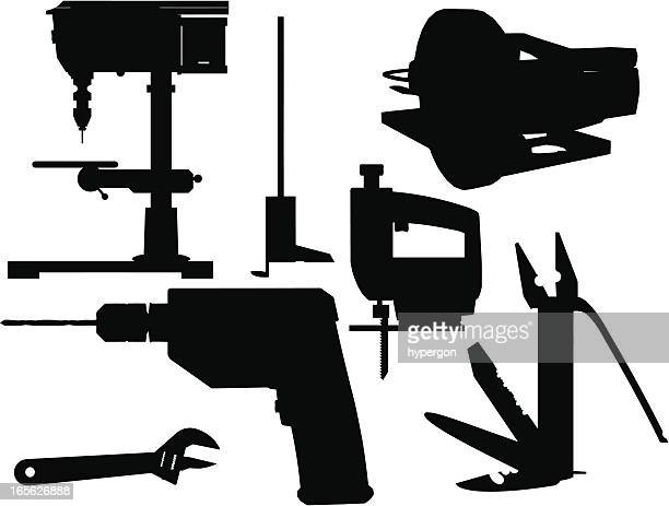 tools silhouette collection - power tool stock illustrations, clip art, cartoons, & icons