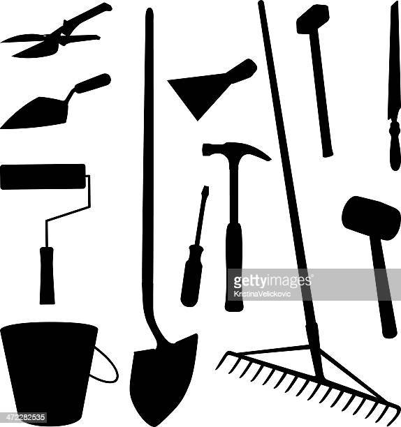 tools silhouette - hedge trimmer stock illustrations, clip art, cartoons, & icons