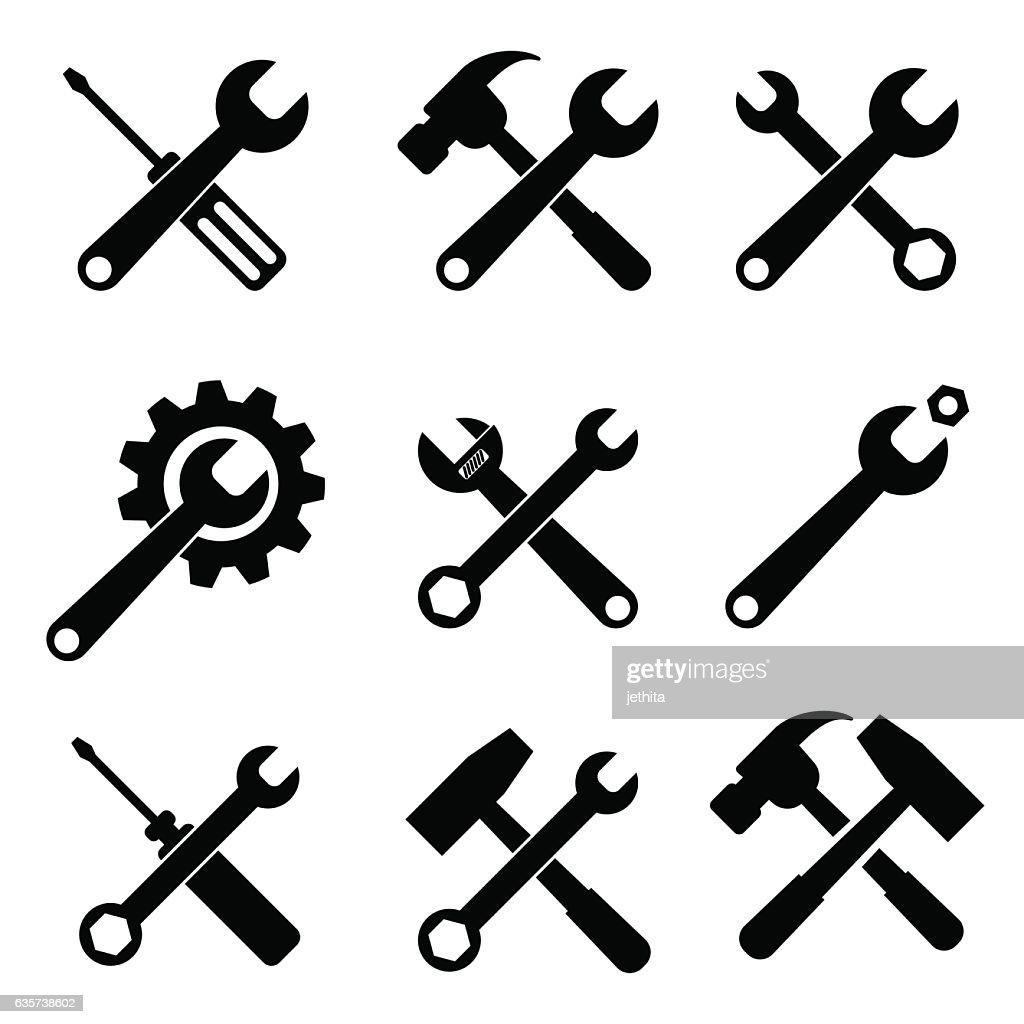 tools supplies icon set