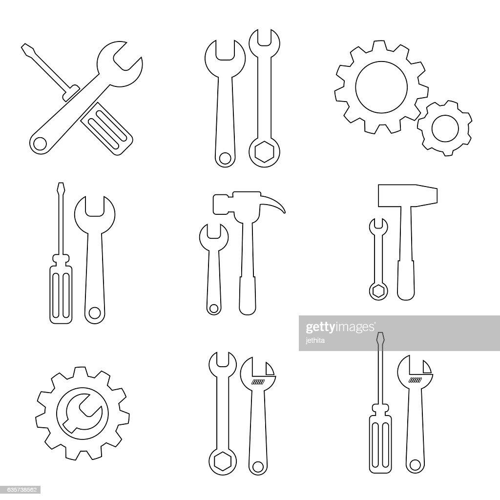 tools supplies set line icon