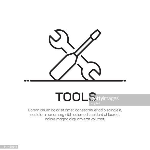 ilustraciones, imágenes clip art, dibujos animados e iconos de stock de icono de línea de vectores de herramientas-icono de línea delgada simple, elemento de diseño de calidad premium - caja de herramientas