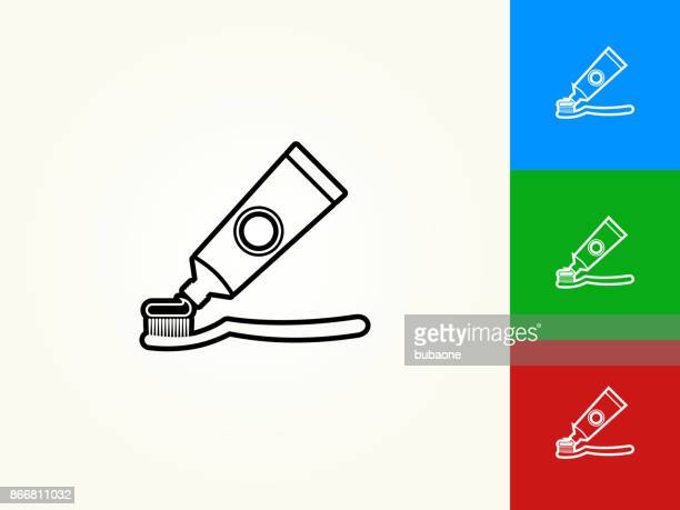 tooth brush and paste black stroke linear icon - brushing teeth stock illustrations