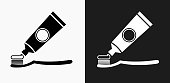 Tooth Brush and Paste Icon on Black and White Vector Backgrounds