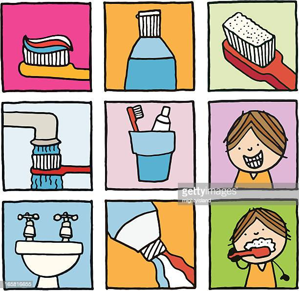 tooth brushing and teeth cleaning icons - brushing teeth stock illustrations