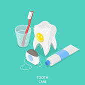 Tooth care flat isometric vector.