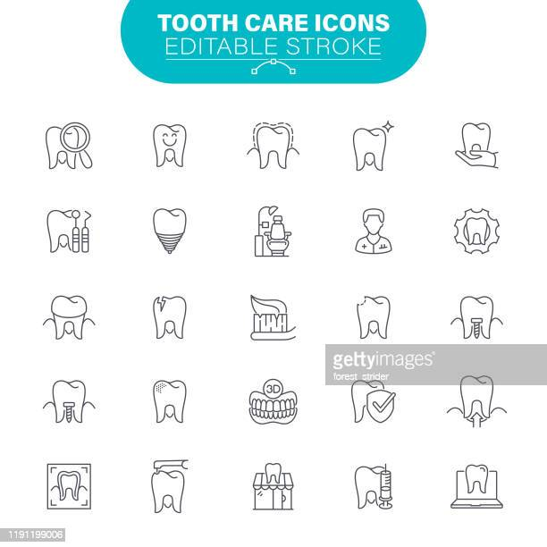 tooth care icons - dental drill stock illustrations