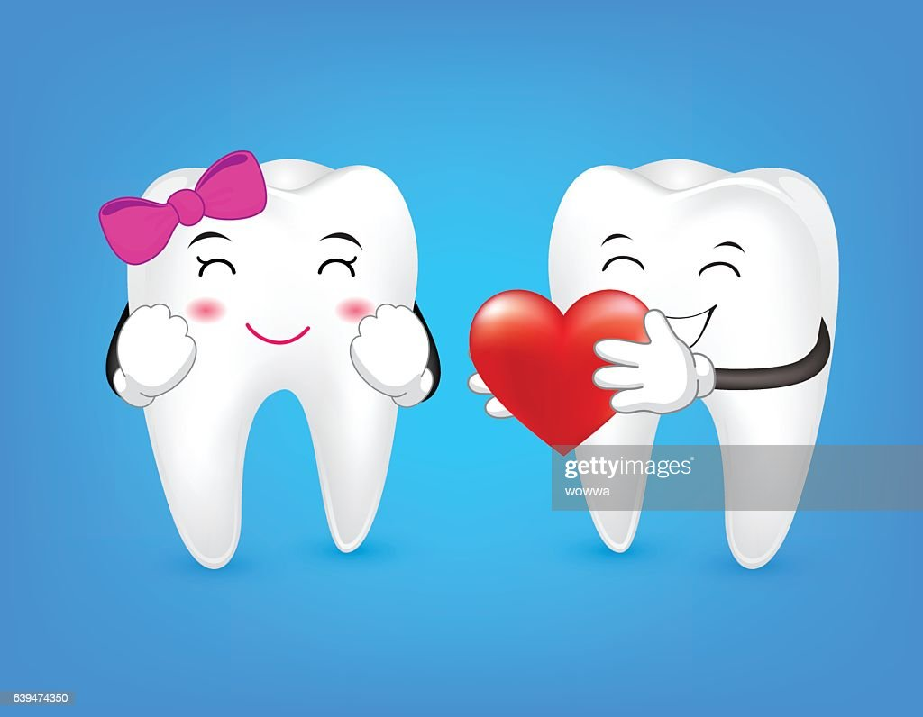 Tooth character holding red heart.