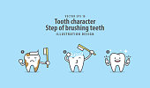 Tooth character Step of brushing teeth illustration vector on blue background. Dental concept.